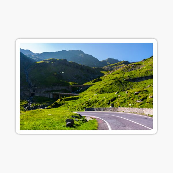 Transfagarasan road up hill to the mountain top Sticker