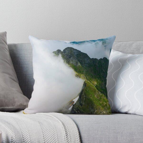 clouds rising in Fagaras mountains Throw Pillow
