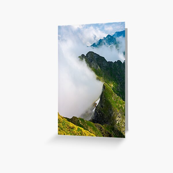 clouds rising in Fagaras mountains Greeting Card