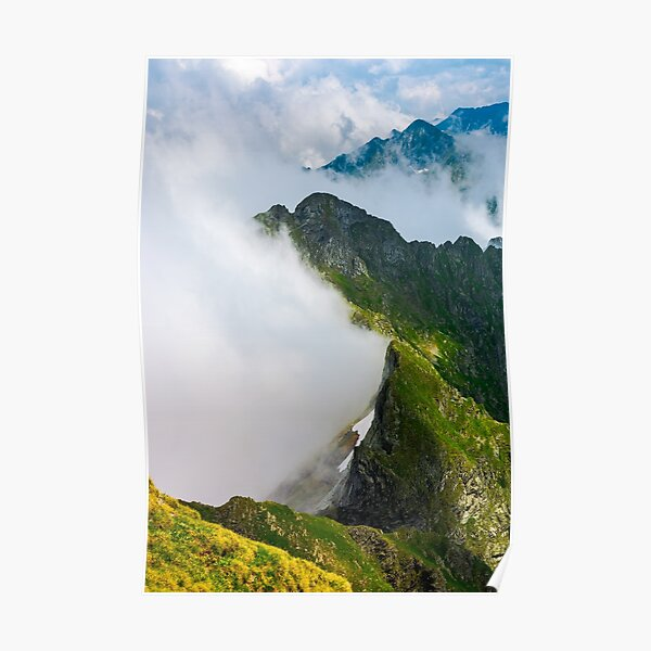 clouds rising in Fagaras mountains Poster