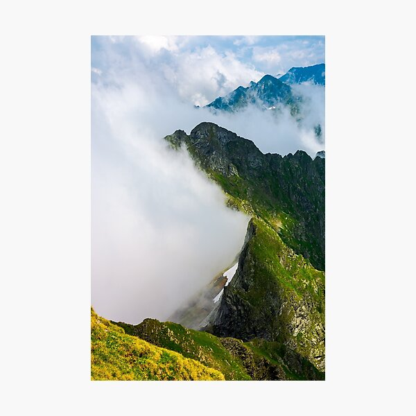 clouds rising in Fagaras mountains Photographic Print