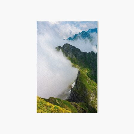 clouds rising in Fagaras mountains Art Board Print