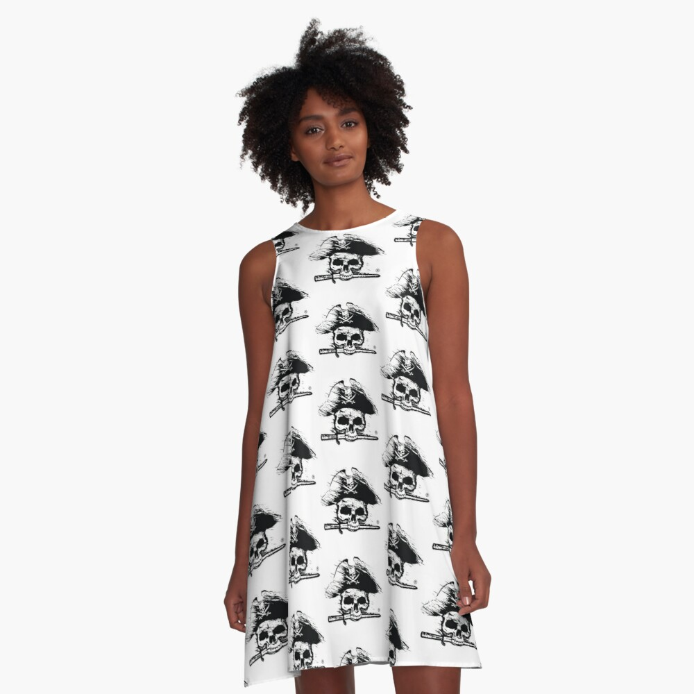 Pirates Adventure Mallorca Merchandise  Skull White Pattern A-Line Dress Front