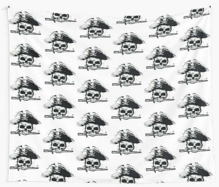 Pirates Adventure Mallorca Merchandise  Skull White Pattern by PiratesMallorca