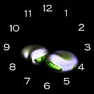 Two Broad Beans White Numbers Wall Clock by Alan Harman