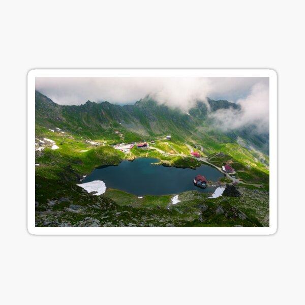 area of lake Balea in clouds Sticker