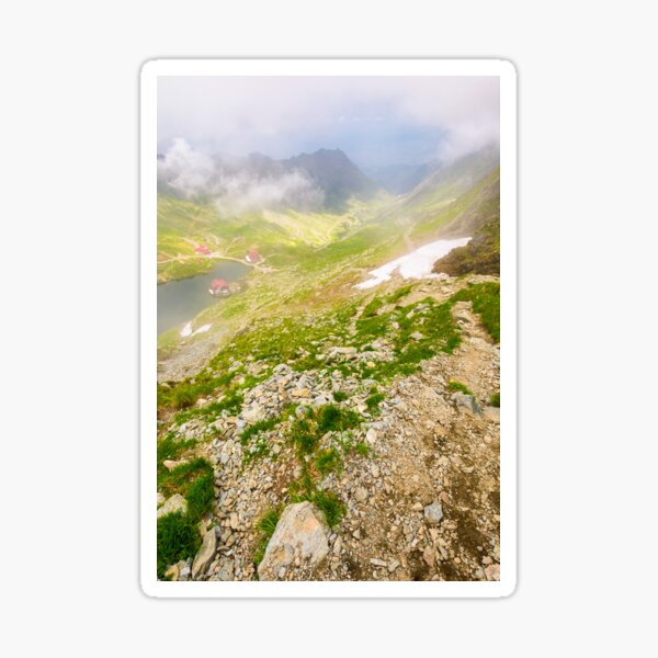 Balea lake in fog view from the top Sticker
