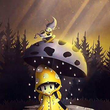 Pilz unter dem Regenschirm von schwebewesen