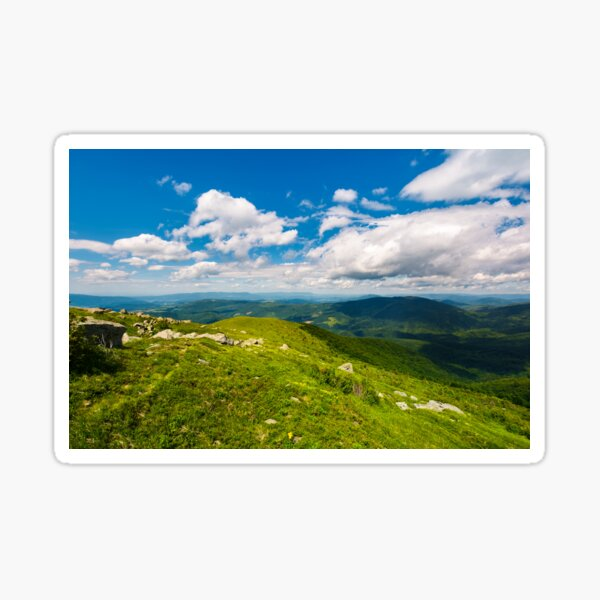 grassy slope of the mountain on a cloudy day Sticker