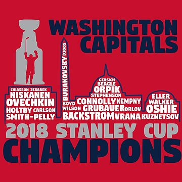 Washington Capitals 2018 Stanley Cup Champions Roster in City Skyline by mymainmandeebo