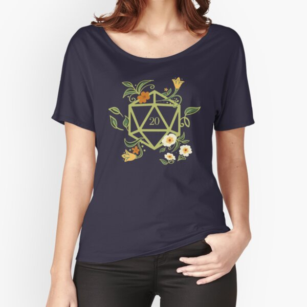 Polyhedral D20 Dice Tabletop RPG Green Thumb Relaxed Fit T-Shirt