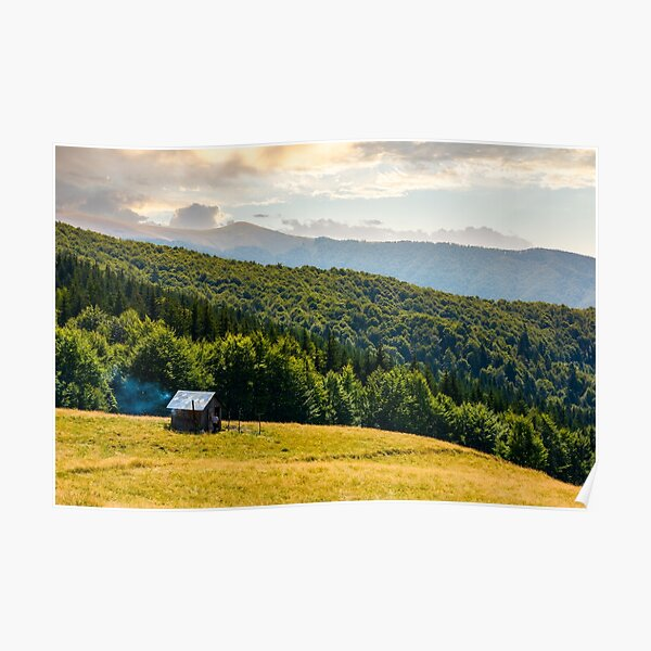pasture and shed on the hillside Poster