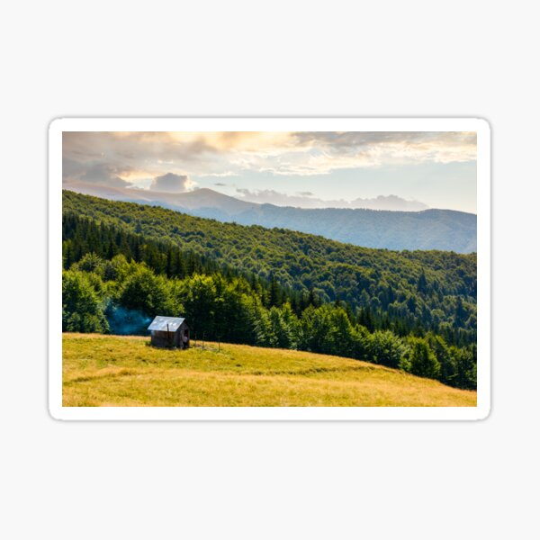 pasture and shed on the hillside Sticker