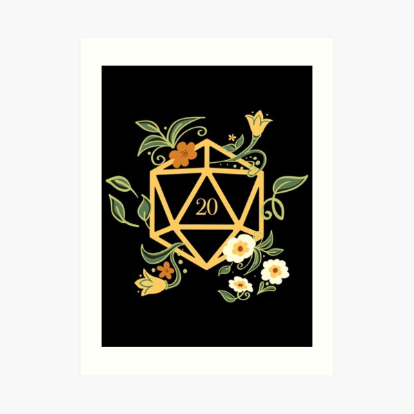 Plant Lovers Polyhedral D20 Dice Tabletop RPG Art Print