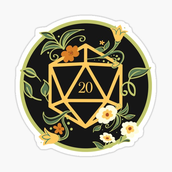Plant Lovers Polyhedral D20 Dice Tabletop RPG Sticker