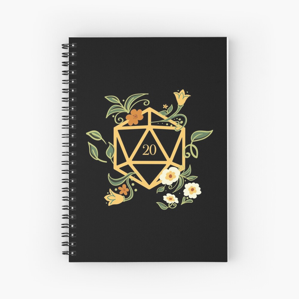 Plant Lovers Polyhedral D20 Dice Tabletop RPG Spiral Notebook