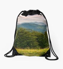 beech forest of Carpathian mountains in afternoon Drawstring Bag