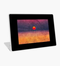purple digital sunrise background Laptop Skin