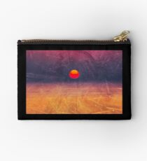 purple digital sunrise background Studio Pouch