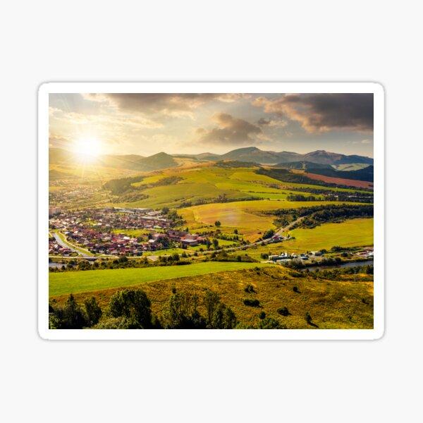 stara lubovna town in slovakia at sunset Sticker