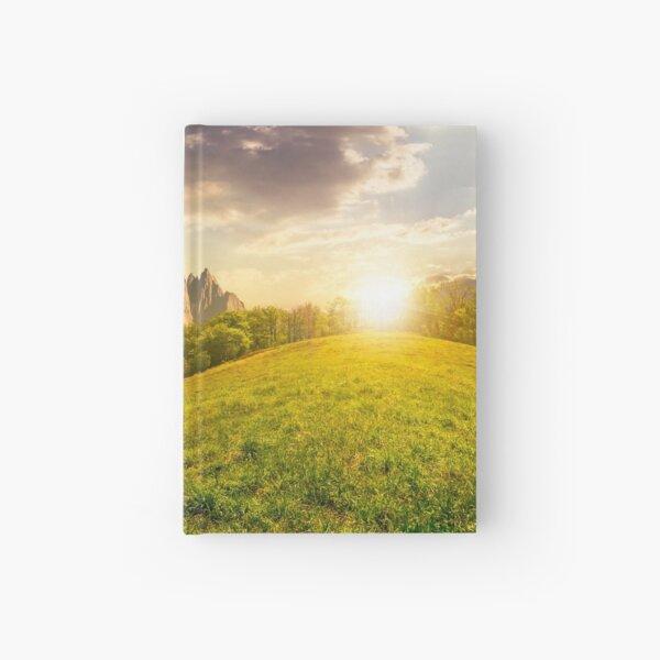 forest on grassy hillside in tatras at sunset Hardcover Journal