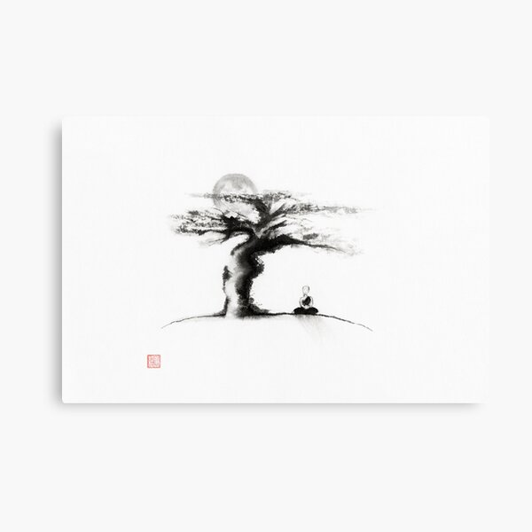 A monk meditating under an old tree in the moonlight Japanese Zen Sumi-e painting art print Metal Print
