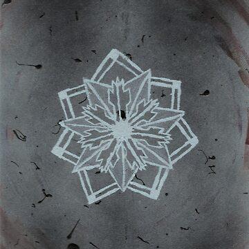 Abstract geometric flower (grey vintage blue design) by kavinski