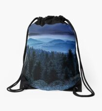 spruce forest in mountains at night Drawstring Bag
