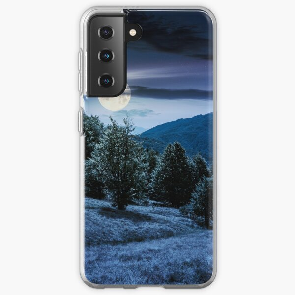 forest on grassy meadows in mountains at night Samsung Galaxy Soft Case