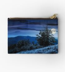 tree on the grassy hillside on at night Studio Pouch