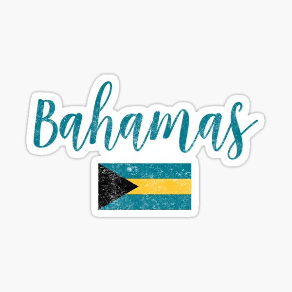 Bahamas Flag Vintage Handwriting Style Sticker