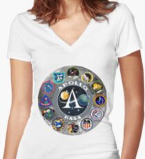 Apollo Missions Composite Logo Women's Fitted V-Neck T-Shirt