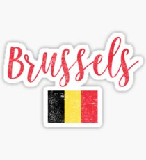 Brussels Flag Vintage Handwriting Style Sticker