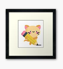 Super kitty discovered the pencil Framed Print