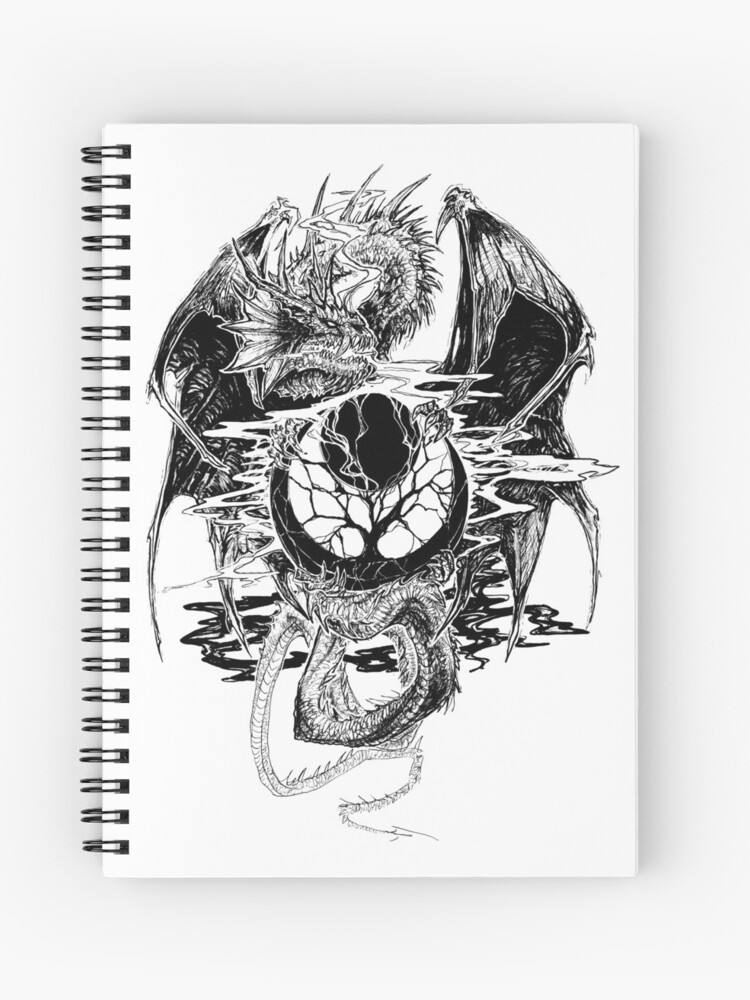 Tree Of Life Dragon Black And White Spiral Notebook