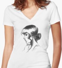 Sketchy Girl Profile Women's Fitted V-Neck T-Shirt