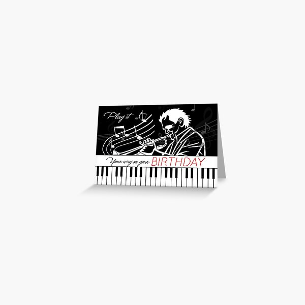 Music Themed Birthday Piano Keys and Musician with Musical Notes Greeting Card