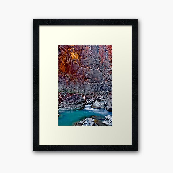 Zions Icy Virgin River Framed Art Print