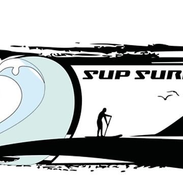 Stand up paddling adventure SUP Surfing art by masatomio