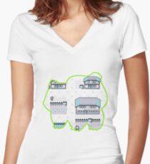 Grass Pallet Town Women's Fitted V-Neck T-Shirt
