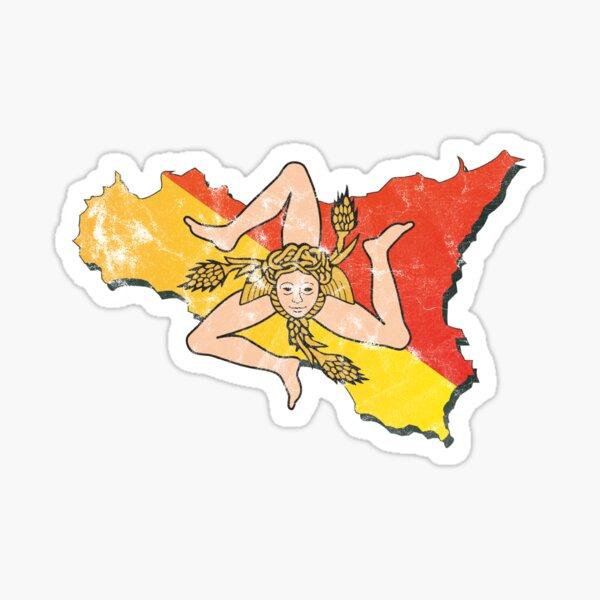 Sicily Flag Sicilian Trinacria Italian Pride Sticker
