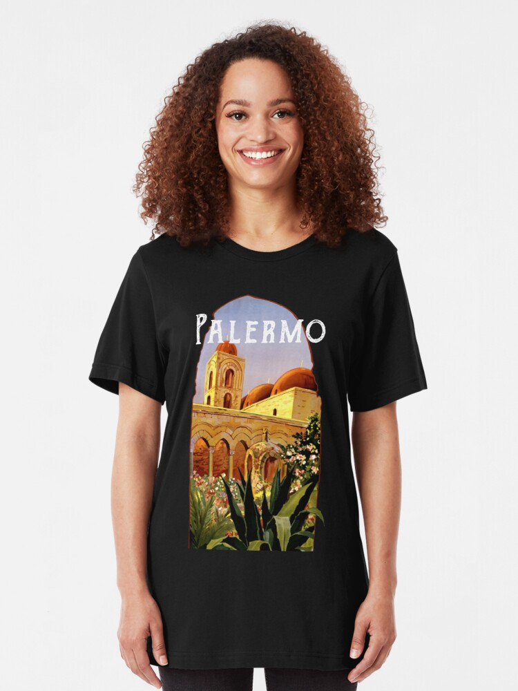 Alternate view of Sicily Palermo Vintage Italian Themed Sicilian Pride Slim Fit T-Shirt