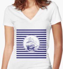 Marine - ship Women's Fitted V-Neck T-Shirt