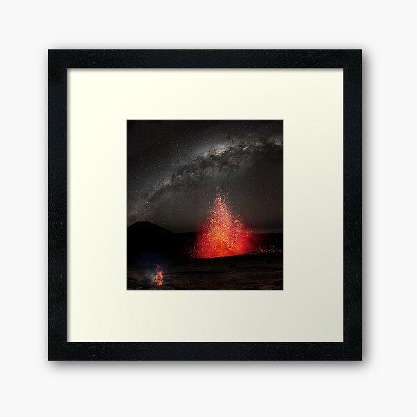 Kilauea Volcano Eruption Under The Stars. Framed Art Print