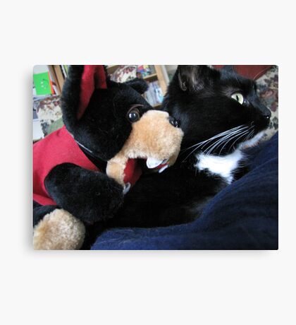 RnR cat capers ... best friends after all Canvas Print