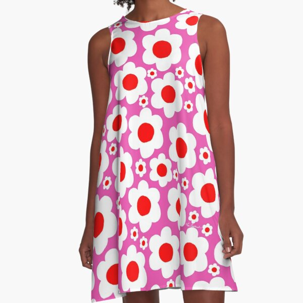 Retro 60's Bright Pop Flowers A-Line Dress