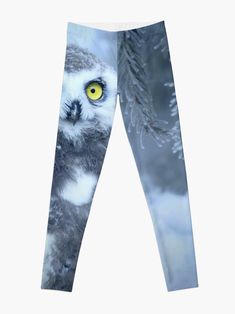 Alternate view of Snowy Owl Forest Bird Yellow Eyes Photo-realistic Wildlife Print Leggings