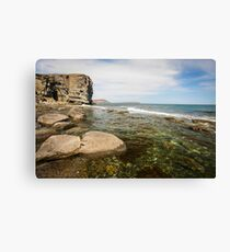 Cliff on spring time with the deep blue sea and sky with clouds. Canvas Print