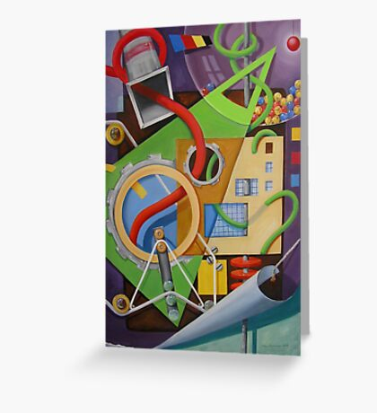 Abstract with Green Triangle and Turning Page Greeting Card