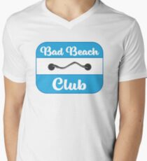 Bad Beach Club Badge in Blue Men's V-Neck T-Shirt
